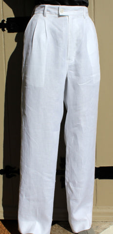 unisex white linen high rise trouser with belt loops