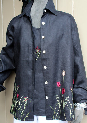 wild flower linen shirt black