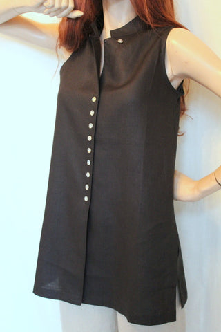 Sleeveless Long Linen Tunic
