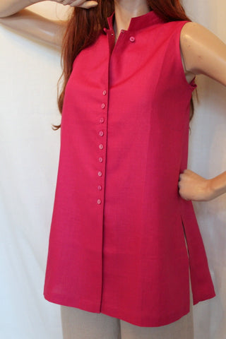 65651dcdcac0f ... ladies sleeveless long linen tunic fuchsia ...