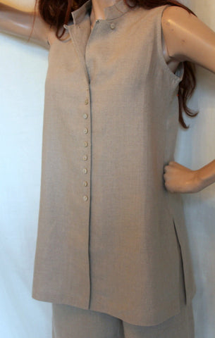 108d39b00a9f3 ... ladies sleeveless long linen tunic natural ...