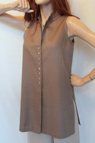 c43218e4b5272 Ladies Sleeveless Long Linen Tunic – Vivi-Direct