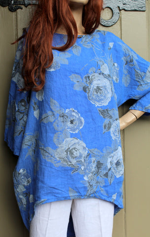 italian womens linen rose print dipped back tunic blue