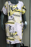 ladies italian linen loose print dress with pockets pale pink