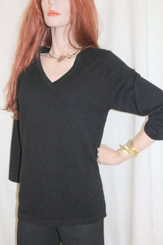 ladies cashmere three quarter sleeve sweater black