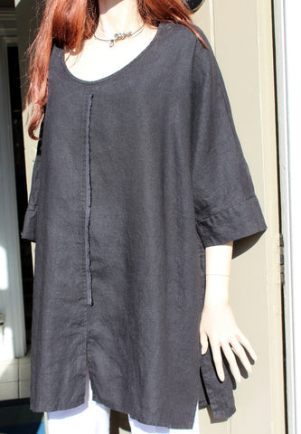 eva tralala womens washed linen tunic baila black
