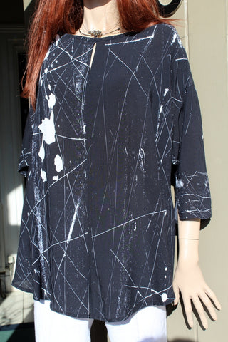 eva tralala ladies black viscose splash print tunic nuba