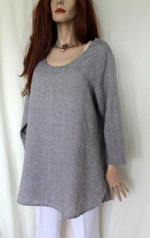 flax lavender womens linen chambray soft tunic