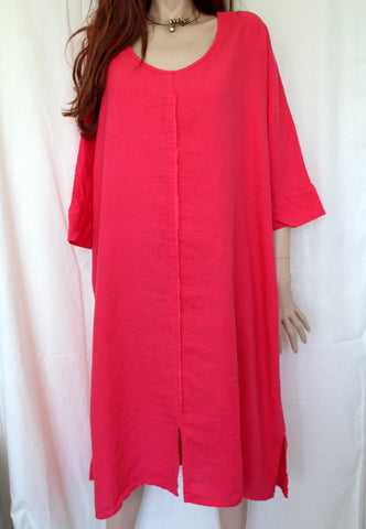eva tralala womens washed linen dress baila in fuchsia