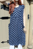 ladies italian linen dot dress with pockets in navy
