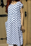 ladies italian linen dot dress with pockets in white