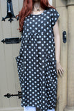 ladies italian linen dot dress with pockets in black
