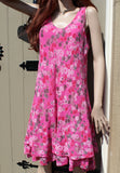 ladies italian gauzey cotton muted balloon print one size dress in fuchsia