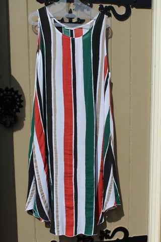Ladies italian wide stripe dress in white