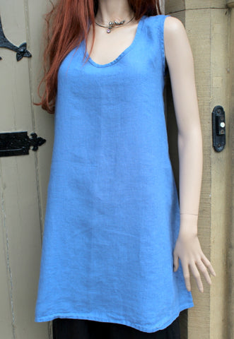 flax womens linen tunic in blue marina washed