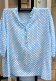 italian cotton gauze ladies mandarin collar muted spotty shirt top in pale blue