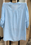 ladies cotton gauze ladies mandarin collar muted spotty shirt top in pale blue back view