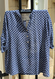italian cotton gauze womens mandarin collar muted spot shirt top in navy