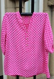 italian cotton gauze womens mandarin collar muted spot shirt top in fuchsia