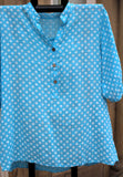 italian cotton gauze womens mandarin collar muted spot shirt top in turquoise