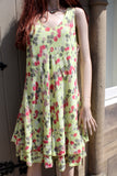 ladies italian bias cut muted balloon print one size double layer dress in lime