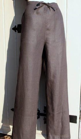ladies black drawstring linen trousers