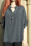 italian cotton gauze womens mandarin collar muted spot shirt top in black