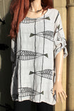 ladies italian meshy cotton fish print tunic with pockets in beige