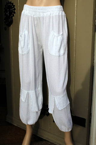 ladies meshy marled cotton ankle grazer pants in white