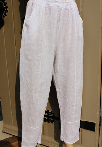 ladies italian fine linen pull on trousers in white