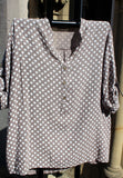 italian cotton gauze womens mandarin collar muted spot shirt top in taupe