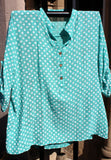 italian cotton gauze womens mandarin collar muted spot shirt top in teal