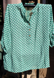 italian cotton gauze womens mandarin collar muted spot shirt top in green