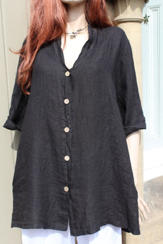 ladies italian linen button through jacket or tunic in black