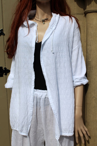 Womens Italian Meshy Cotton Casual Drawstring Jacket