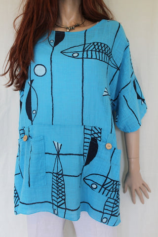 womens italian meshy cotton coloured fishprint tunic in turquoise