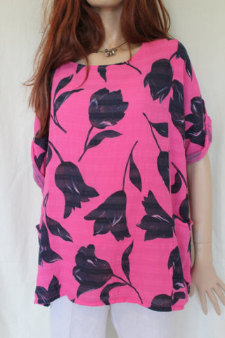 womens italian meshy cotton tulip print tunic in fuchsia