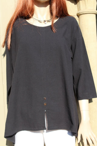 focus black cotton crepe ladies tunic