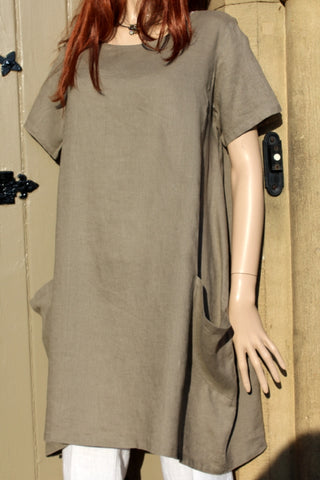 focus ladies taupe linen dress or long tunic with big bucket pockets