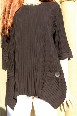 focus black ribbed cotton ladies tunic with pockets