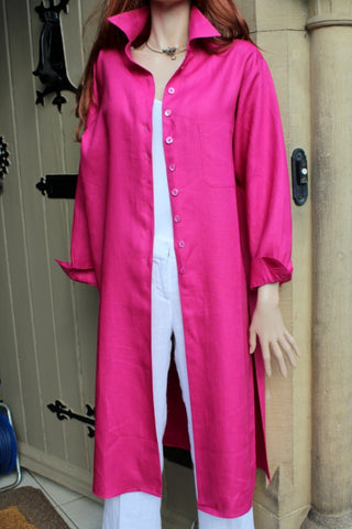 longer length ladies linen shirt or coat fuchsia