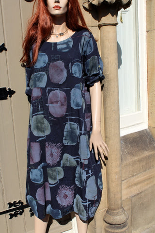 ladies cotton panel dress with muted print navy