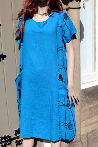 ladies italian linen fish print dress with pockets turquoise