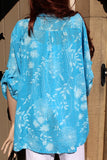 italian cotton gauze ladies mandarin collar muted floral top turquoise