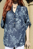 italian cotton gauze ladies mandarin collar muted floral top navy