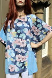 ladies italian meshy cotton floral panel tunic sky blue