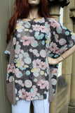 ladies italian meshy cotton floral panel tunic taupe