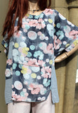 ladies italian meshy cotton floral panel tunic pale grey and blue