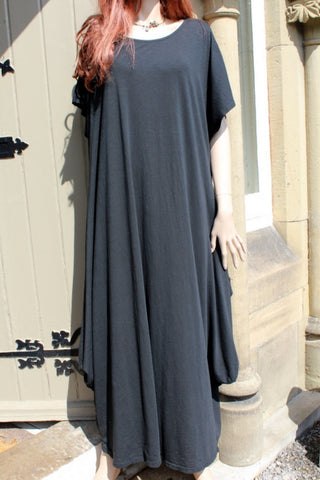 ladies italian plain cotton crepe jersey lounging dress black