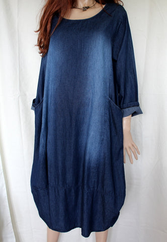 ladies italian dark blue cotton denim dress with two pockets